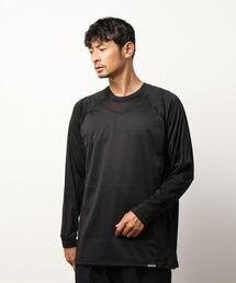 OUTDOOR PRODUCTS×BREEZETEX HYPER クルーネックロングTシャツ 防風透湿 衣服内温度+5℃ブラック