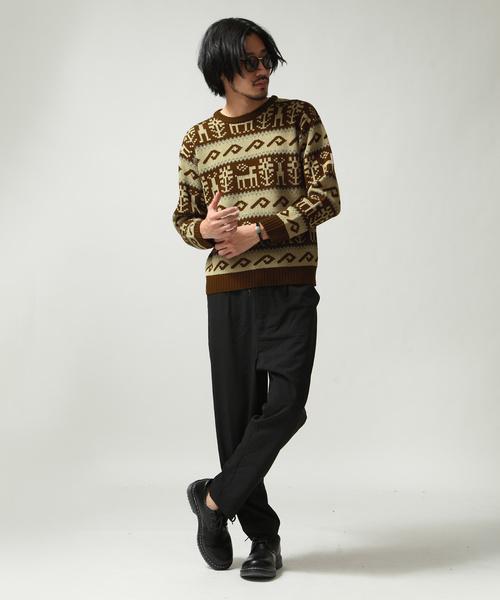 7G総柄クルーネックセーター