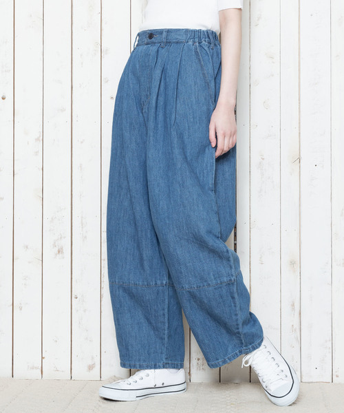 綿麻デニム/ヒッコリー・切替パンツ