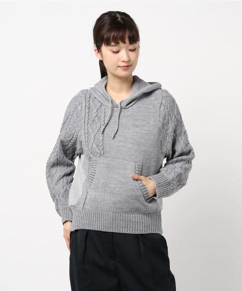 Re.Verofonna(ヴェロフォンナ)の「柄編み切替フーディー(ニット/セーター)」 グレー