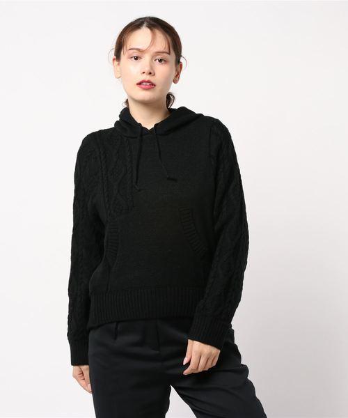 Re.Verofonna(ヴェロフォンナ)の「柄編み切替フーディー(ニット/セーター)」 ブラック