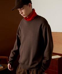 オーバーサイズ畦クルーネックニットプルオーバー (EMMA CLOTHES)ダークブラウン