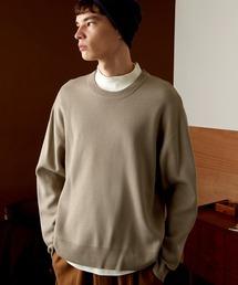 オーバーサイズ畦クルーネックニットプルオーバー (EMMA CLOTHES)ベージュ