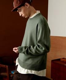 オーバーサイズ畦クルーネックニットプルオーバー (EMMA CLOTHES)グリーン系その他