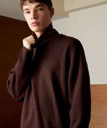 オーバーサイズ畦クルーネックニットプルオーバー (EMMA CLOTHES)バーガンディー