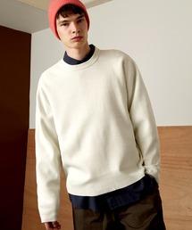 オーバーサイズ畦クルーネックニットプルオーバー (EMMA CLOTHES)ホワイト
