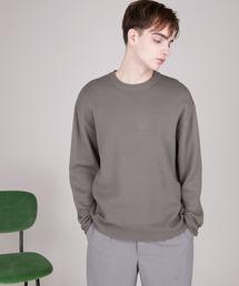 オーバーサイズ畦クルーネックニットプルオーバー (EMMA CLOTHES)グレイッシュベージュ