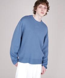 オーバーサイズ畦クルーネックニットプルオーバー (EMMA CLOTHES)ブルー