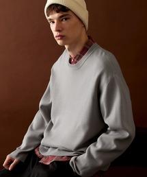 オーバーサイズ畦クルーネックニットプルオーバー (EMMA CLOTHES)ライトグレー