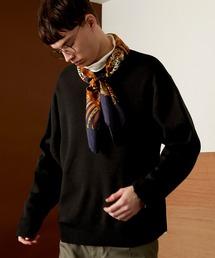 オーバーサイズ畦クルーネックニットプルオーバー (EMMA CLOTHES)ブラック