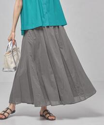 <closet story(クローゼットストーリー)>カラー ボリュームギャザー ロングスカート -手洗い可能-