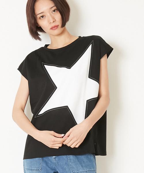 CONVERSE TOKYO(コンバーストウキョウ)の「CONVERSE TOKYO/コンバーストウキョウ ビッグスター切り替えTシャツ(Tシャツ/カットソー)」 ブラック