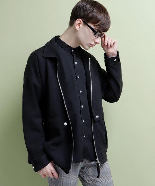 ダブルポケットジップブルゾン/スイングトップ/スウィングトップ(Twill-weave TR fabric)