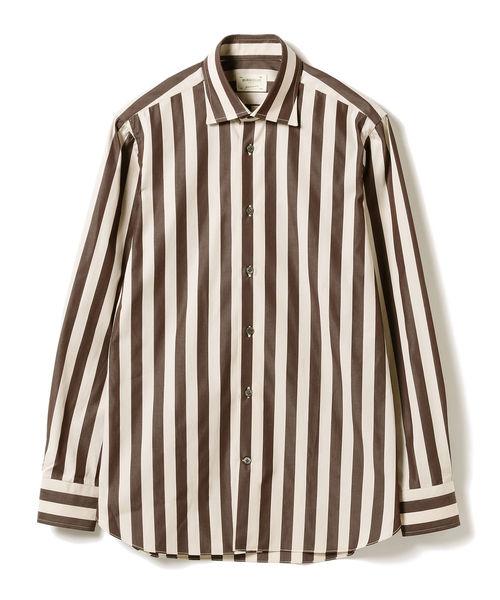 BRILLA per il gusto(ブリッラペルイルグースト)の「◎Borriello / ボールドストライプ セミワイドカラーシャツ(シャツ/ブラウス)」|ダークブラウン