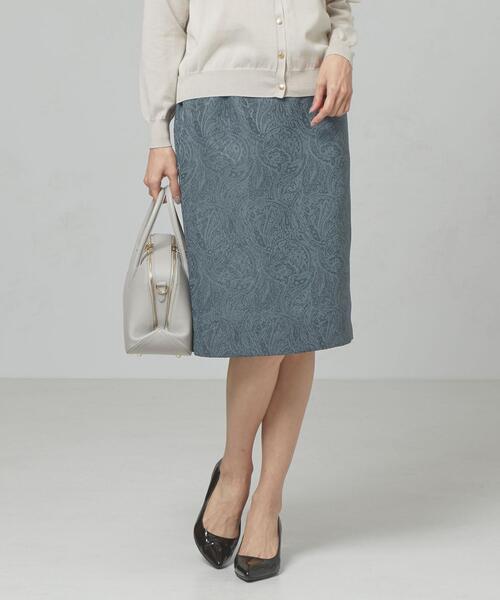 <closet story>□ペイズリージャガード タックタイトスカート -手洗い可能-