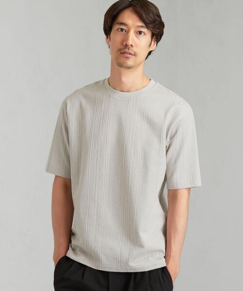CSM ケーブル ジャカード クルーネック 半袖 Tシャツ カットソー