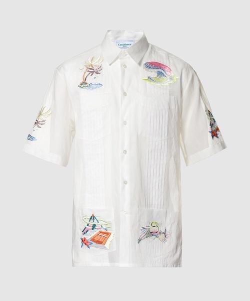 Casablanca(カサブランカ)の「Cuban Rainbow Hand Embroidered Shirt(シャツ/ブラウス)」 ホワイト系その他