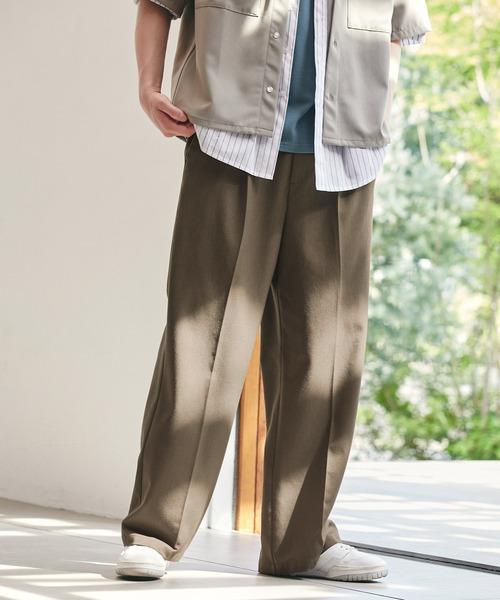TRストレッチスーツ地 ストレート 1タック センタープレスイージーカラーワイドパンツ EMMA CLOTHES 2021AW