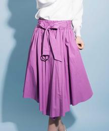 The Virgnia(ザ ヴァージニア)の共布ベルト付きシャツ地イレヘムスカート(スカート)
