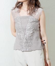 Omekashi(オメカシ)のVレースフレンチプルオーバー(Tシャツ/カットソー)