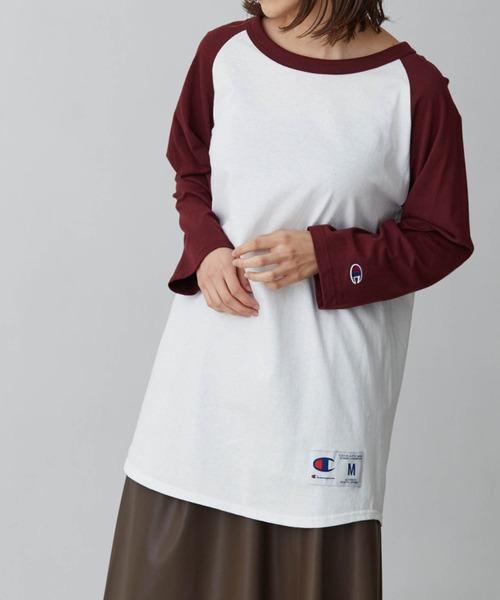 【Champion】レディース チャンピオン ベースボール ロングロゴ ラグラン Tシャツ