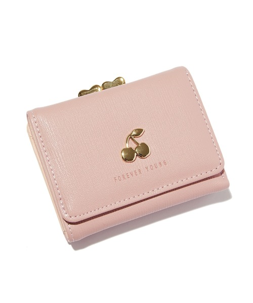 SPINNS(スピンズ)の「チェリーデザイン がま口 ミニウォレット(財布)」|ピンク系その他
