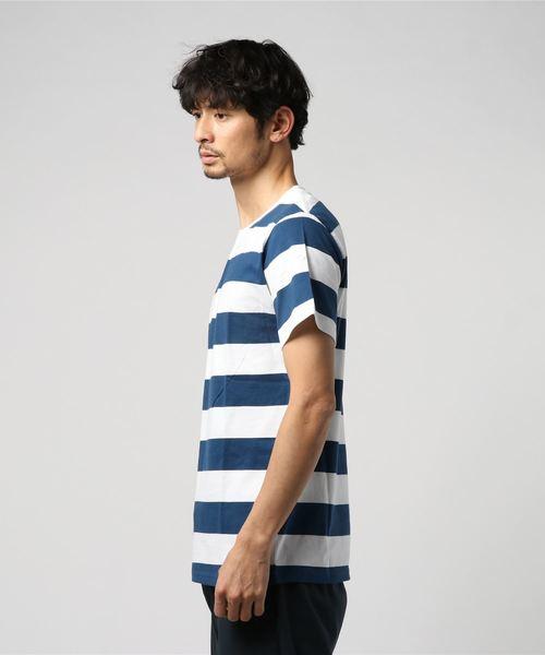 太ボーダー柄クルーネック半袖Tシャツカットソー
