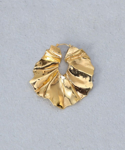 <Preek>METAL FRILL EARRING SILVER×GOLD PLATED PIN K18 /ピアス
