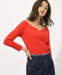 AZUL BY MOUSSY(アズールバイマウジー)のHEART NECK RIB TOPS(Tシャツ/カットソー)