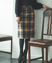 31 Sons de mode(トランテアン ソン ドゥ モード)のビッグバックルチェックタイトスカート(スカート)