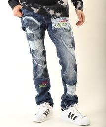 【STAPLE】ブランドロゴ刺繍 ウォッシュ加工 ダメージジーンズ デニムパンツ(デニムパンツ)