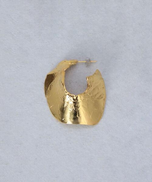 <Preek>METAL HOOP EARRING GOLD PLATED PIN K18/ピアス