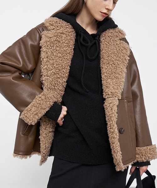 【Fano Studios】【2021AW】Eco leather double breasted short coat FD20W139