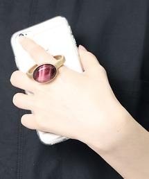【 Hashibami / ハシバミ 】別注 iPhone 8/7/6/SE クリア スマホ・携帯カバー 天然石リング付きケースレッド