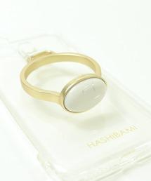 【 Hashibami / ハシバミ 】別注 iPhone 8/7/6/SE クリア スマホ・携帯カバー 天然石リング付きケースホワイト