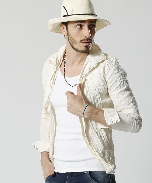 ms3371-linen-cupra wrinkle hook shirts シャツ