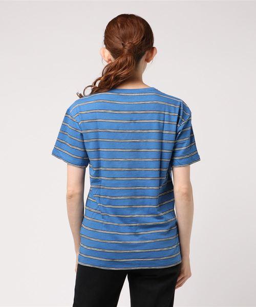 ボーダープリント コットン&リネン クルーネックTシャツ (半袖)