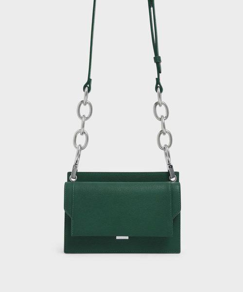 CHARLES & KEITH(チャールズ & キース)の「アイレットディテール プッシュロッククロスボディバッグ / Eyelet Detail Push-Lock Crossbody Bag(クラッチバッグ)」|グリーン