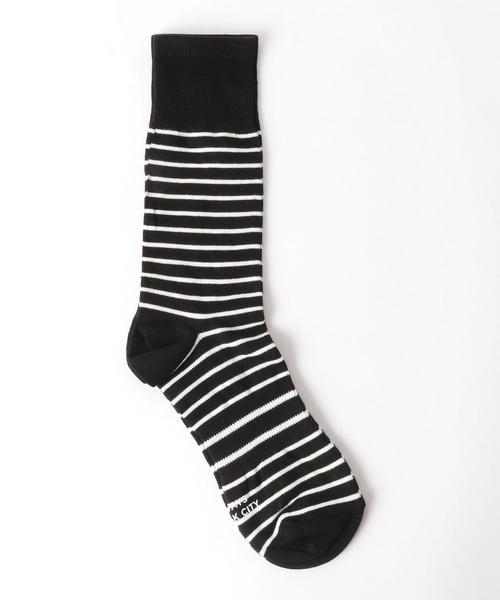 [サタデーズ ニューヨークシティ] SC★Saturdays NYC ボーダー クルーソックス 靴下