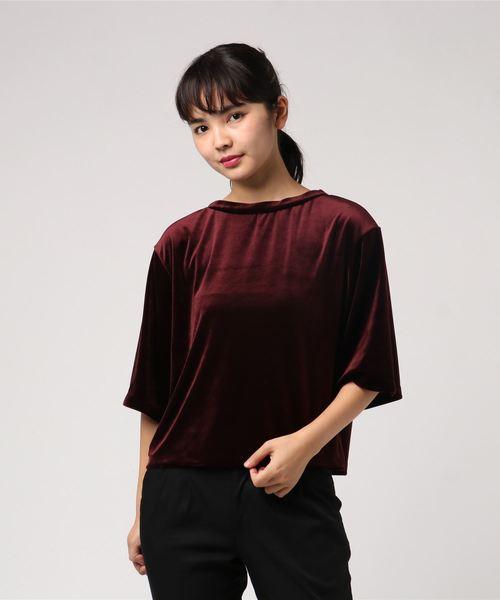 ベロアクルーTシャツ