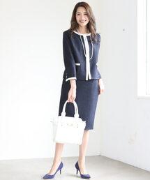 DRESS LAB(ドレスラボ)のツイード バイカラー ジャケット スカート セットアップ フォーマル スーツ【2点セット】結婚式(セットアップ)