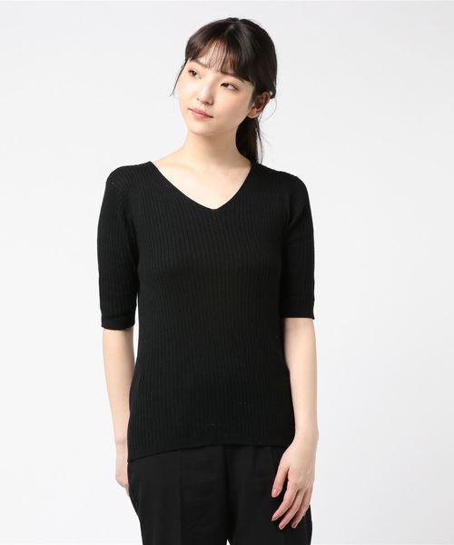 Pierrot(ピエロ)の「VネックorUネック選べる 半袖綿混サマーリブニット(ニット/セーター)」|ブラック