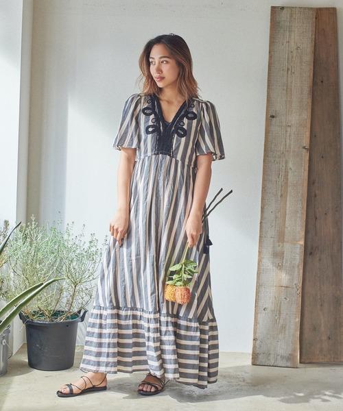 sara mallika STRIE EMB V NECK DRESS (サラマリカ ブイネックドレス)