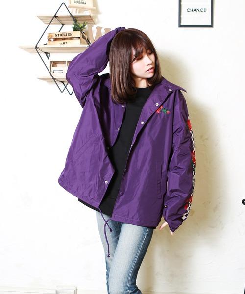 バラ刺繍コーチジャケット