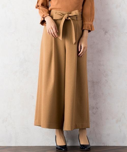 Rose Tiara(ローズティアラ)の「ウエストリボンガウチョパンツ(パンツ)」|キャメル