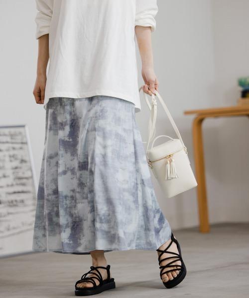 mysty woman(ミスティウーマン)の「マーブルプリントマーメイドスカート 937485(スカート)」|グレイッシュブルー