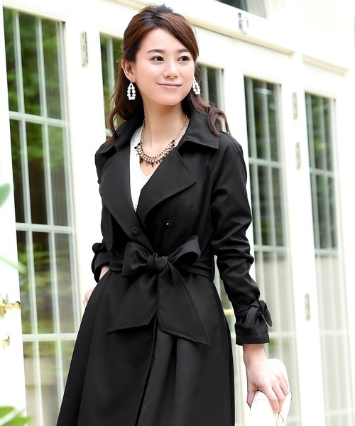 Sleek touch ribbon cuffs Trench coat