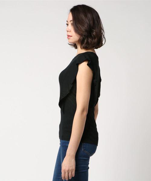 袖ショートフリル切り替えTシャツ・カットソー