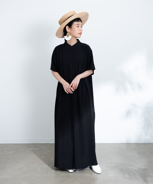 Libra(リブラ)の「バンドカラーシャツワンピース(ワンピース)」|ブラック