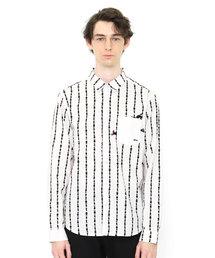 graniph(グラニフ)のグラフィックシャツ(フィッシュストライプ)(ホワイト)(シャツ/ブラウス)